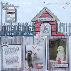 Nichol Magourik for Kerri Bradford Dog Scrapbook Layouts, Scrapbook Cards, Digital Scrapbooking, Scrapbooking Ideas, Outside Dogs, Silhouette Cutter, Dog Houses, Silhouette Projects, Dog Friends