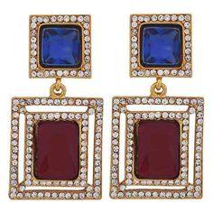 Maayra #Stylish Blue Maroon Crystal Drop #Earrings #onlineshopping http://goo.gl/54YDka