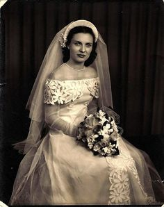 vintagebrides:  1940 bride 40s fashion dress bride