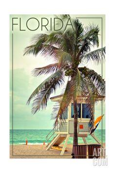 Florida - Lifeguard Shack and Palm Art Print by Lantern Press at Art.com