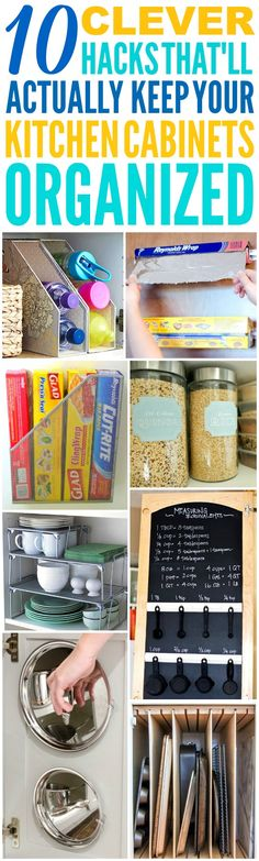 These 10 Clever Kitchen Cabinet Organization Hacks are THE BEST! I'm so glad I found these GREAT tips! Now I have some great ways to keep my cabinets and kitchen clutter free, clean, and organized! Definitely pinning!