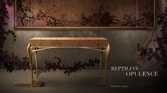 TEMPTATION console explodes with exoticism & verve with gold curves playing with a python lamb skin.