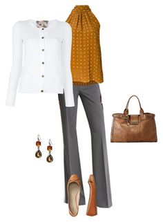 Work Outfit by lishaque on Polyvore featuring Burberry, Diane Von Furstenberg, Gap, FOSSIL and Banana Republic