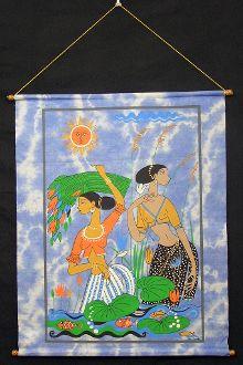 screen print wall hanging- lotus picking women