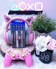 ♡ KAWAII GAMER ♡ Playstation - - controller - mug - LED light display - cat ear headphones - cat ears - nekomimi - pink - pastel - otaku - gamer - nerd - geek - cute - kawaii Video Game Rooms, Video Games, Diary Diy, Niedlicher Panda, Baby Dekor, Catty Noir, Otaku Room, Gaming Room Setup, Kawaii Room