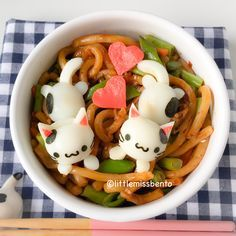 Kawaii Kitty Udon Bento - made with four quail eggs and nori. Too cute to eat!!! :3