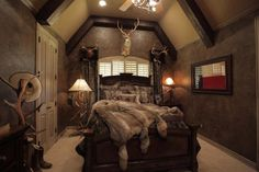 Love this as a master bedroom! Mostly feminine with a touch of masculinity!!
