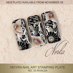 "173 Likes, 6 Comments - Moyra Nail Polish and Stamping (@moyra_nailpolish_and_stamping) on Instagram: ""Nail art with Moyra Stamping Plate No. 33 Rivalda, Moyra SuperShine Colour Gel 502 Snow, 501 Devil,…"""