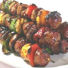 Grilled Bratwurst Skewers - For Father's Day!