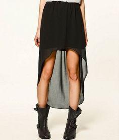 falda asimetrica negra - Chicfy