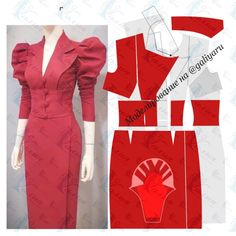 Formal Dresses With Sleeves, Sleeves Designs For Dresses, Work Dresses For Women, Sleeve Designs, T Shirt Sewing Pattern, Dress Sewing Patterns, Clothing Patterns, Costura Fashion, Dress Design Drawing