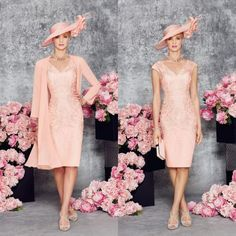 Beautiful Mother Of The Bride Dresses Lace Appliqued V-Neck Sleeveless Ronald Joyce Formal Gowns Knee Length Mother&039;s Dress With Jacket