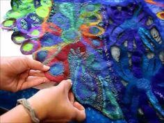 Nuno Felt Semi-Circular Wrap - Fixing Torn Carrier Fabric - Joni Cornell - Part 6