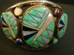 """Signed Vintage Channel Inlay STERLING Navajo Cuff Bracelet Opal Turquoise Lapis"""