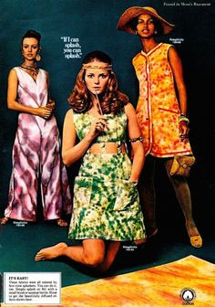 Rit dye ad featuring Cheryl Tiegs and tie-dyed grooviness . Vintage Mode, Vintage Ladies, Vintage Woman, Vintage Barbie, 60s And 70s Fashion, Vintage Fashion, Batik Mode, Cheryl Tiegs, Vintage Outfits