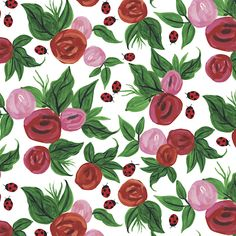 Roses and Ladybirds Reversible Wrapping Paper