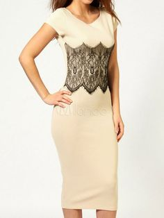 Slim White Lace Polyester Bodycon Dress for Women - Milanoo.com