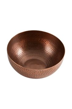 "Aluminum serving bowl with hammered design and antique copper finish. Food safe but can also be used as decoration. Capacity 120 oz. Hand wash.    Measures: 4.5""h x 10""dia. Hammered-Copper Serving Bowl by Tag. Home & Gifts - Home Decor - Dining Minnesota"