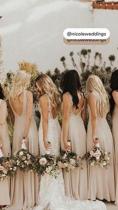 Beige Wedding, Boho Wedding, Dream Wedding, Neutral Wedding Flowers, Cute Wedding Dress, Wedding Bridesmaid Dresses, Colorful Bridesmaid Dresses, Bride And Bridesmaid Pictures, Bridesmaid Poses