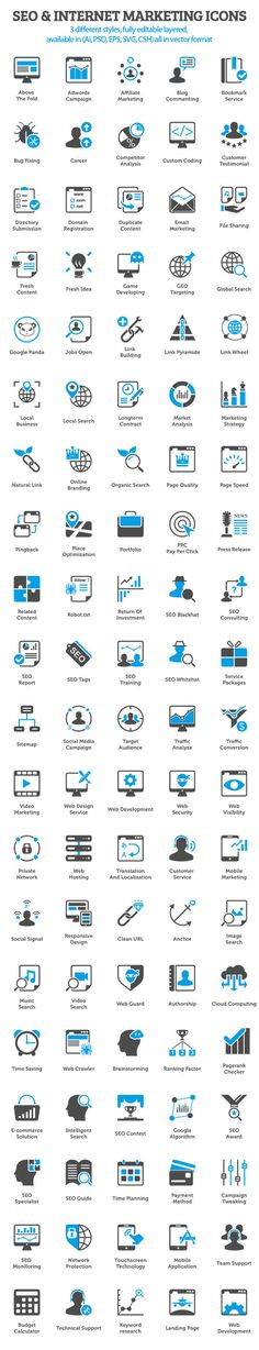 Free SEO & Internet Marketing Icons (100 items) #SEO #LocalSearch #SearchEngineOptimization