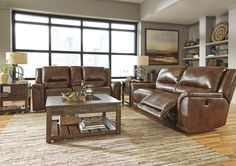 Jayron Contemporary Leather Harness Color Reclining Power Sofa And Loveseat. Supple leather will surround you in comfort and equestrian style in the Jayron power reclining sofa and loveseat. #Sofa #Loveseat #Leather #Reclining #Brown #Living Room #Ashley #Modern #Chic – Furnituremaxx