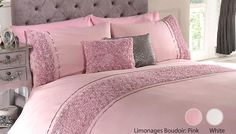 Ruched Textured Duvet Sets Enjoy truly sweet dreams with Ruched Textured Duvet Sets      Luxury bedding lovingly embellished with ruched, floral ruffle detailing      Choose between Limoge and Serenity designs - available in Cream, Pink or White      Perfect house-warming gift idea for ladies who love their beauty sleep      Material: 50% cotton/ 50% polyester; Embellishment: 100% polyester   ...