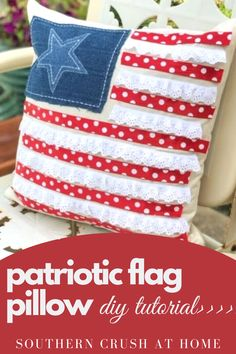Just in time for Fourth of July! Learn how to make this adorable patriotic flag pillow on my blog.  #patrioticdecor #fourthofjuly #diy 4th July Crafts, Fourth Of July Decor, July 4th, Sewing Throw Pillows, Diy Pillows, Diy Home Decor Projects, Decor Ideas, Craft Ideas, Dollar Tree Crafts