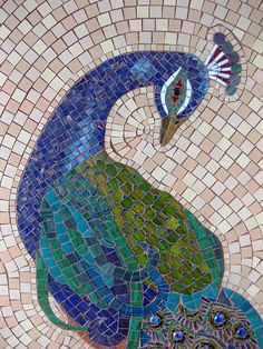 Peacock finished detail #mosaic #animals