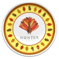 Personalized Tom Turkey Children's Melamine Plate