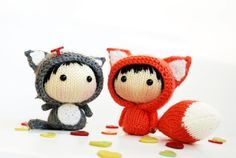 2 Small Dolls: Orange Fox Doll with removable tail and Gray Girl Cat- pdf knitting patterns