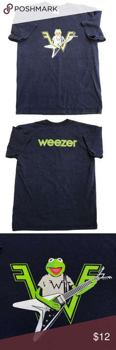 Kermit the Frog Weezer Graphic Navy Blue T-Shirt Pre-owned kid's Kermit the Frog Weezer Graphic Navy Blue T-Shirt. Smoke free home and no signs of holes or tear. Gildan Shirts & Tops Tees - Short Sleeve
