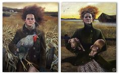 by Andrea Kowch.....Kim I think she does some interesting artwork.  A Gothic-Farmer......