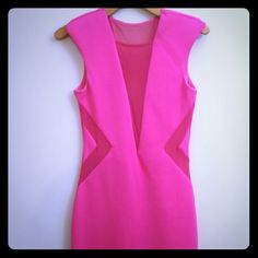 VavavaVoom Hot Pink Bebe Dress Only worn a few times and in good condition. bebe Dresses Mini