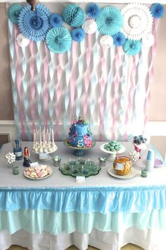 Birthday Cake Girls Blue Party Planning Ideas For 2019 Birthday Table, Blue Birthday, Frozen Birthday Party, Birthday Cake Girls, Mermaid Birthday, Birthday Diy, Birthday Party Decorations, Birthday Parties, Birthday Ideas