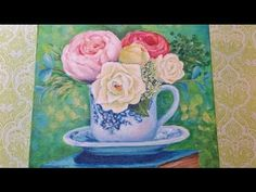 Roses in Teacup | Full Acrylic Painting Tutorial | Downton Abbey Inspired | Learn How to Paint | Free Lesson | Angela Anderson | #lovesummerart