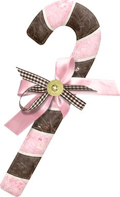 CHRISTMAS PINK AND BROWN CANDY CANE CLIP ART