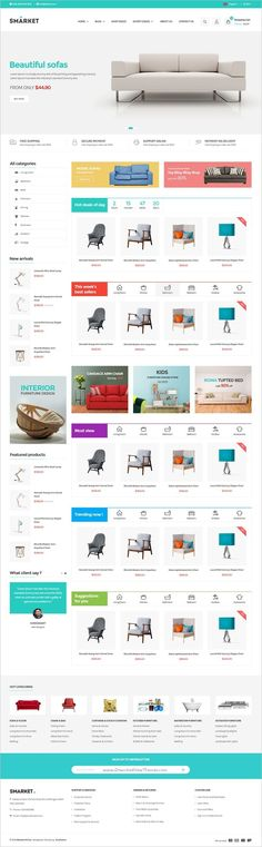 SMarket is a clean and modern design #Photoshop template for #decor #furniture shop eCommerce websites with 5 unique homepage layouts and 18+ organized PSD pages download now➩ https://themeforest.net/item/smarket-ecommerce-psd-template/18977119?ref=Datasata