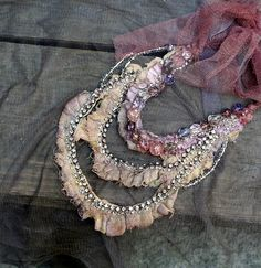 Timeworn, shabby chic statement necklace, cotton, silk, lace, hand embroidered