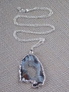 Geode Necklace on Sterling Silver Chain geode by MalieCreations
