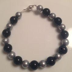 Black and silver handmade bracelet