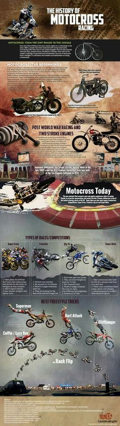 TBT History Of Motocross Racing | Infographic Motocross History During the early 1860s, an innovator named Pierre Michaux installed a steam engine, the first of its kind, on a velocipede. And, so the motorcycle racing obsession began, starting with time trials in the UK.  Today, this sport is now a billion-dollar industry complete with back flips, cliffhanger jumps, and jam-packed arenas.