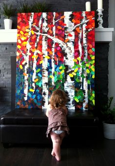 My little girl admiring my big birch tree painting titled, Tonight I Dream In Color. Large-scale birch trees with fabulous color! Has originals, glossy blocks of prints, and greeting cards for sale Colorful Paintings, Tree Paintings, Drawing Artist, Canadian Artists, Art Plastique, Tree Art, Oeuvre D'art, Painting Inspiration, Diy Art