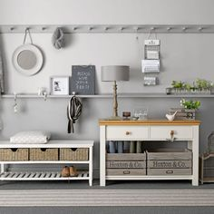 Grey-Hallway-storage-Ideal-Home-Housetohome.jpg - Hallway storage Image Resolution: Width: Height: File Size: See Full Decor, Ideal Home, Hallway Colours, Interior, Hallway Storage Bench, Hallway Storage, House Interior, Hallway Designs, Hallway Colour Schemes