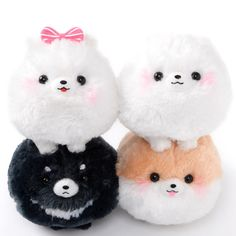 """Fuwa Fuwa Pometan is Amuse's super popular collection of big, round Pomeranian plushies! Choose from Pometa, Pometan, Pomemaru and Pomeko, or pick up the complete set. These pretty puppies are primed for some champion-level hugging. These are the standard-size plushies (approx. 5.1"""") so you'll have plenty of space to dance about having fun with them!  #plushie"""