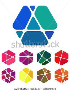 Illustration of Design logo element Crushing abstract hexagon pattern Colorful precious stone icons set vector art, clipart and stock vectors. Hexagon Pattern, Honeycomb Pattern, Pattern Design, Bee Design, Icon Design, Logo Hexagone, Logo Abstrait, Gem Logo, Hexagon Logo