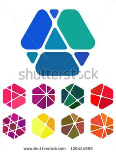 Design logo element. Crushing abstract hexagon pattern. Colorful precious stone icons set. - stock vector
