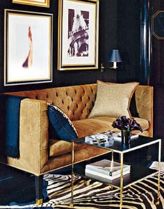 navy walls and camel couch