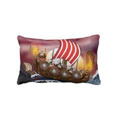 Viking Invasion Fleet Throw Pillow