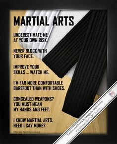 "Martial Arts Poster Print is a unique gift for martial artists. """"Improve your skills ... watch me."""" Whether you're a beginner or a black belt, fans of martial arts and karate can relate to these fun"