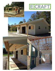 New construction; 4 stall barn, tack room, barn door, rolling door, porch, iron stall doors, green tin roof, pendent lights, repurposed chandelier. Ecraft Georgia